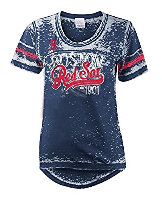 MLB Boston Red Sox Burnout Wash Wide Crew Neck Jersey