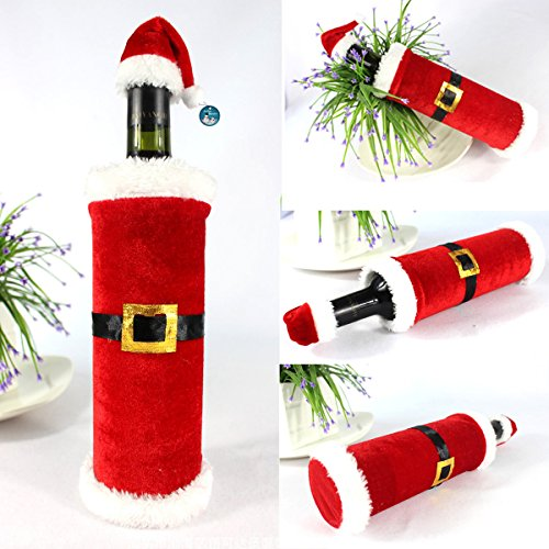 Christmas Wine Bottle Cover with Santa Hat (Set of 4)