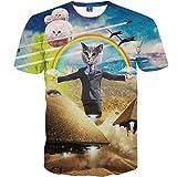 1911NCメンズ3Dプリント ヒップホップ おもしろ おしゃれ ファッション ロック スタイル 猫 宇宙人 虹 柄Tシャツ 半袖 夏