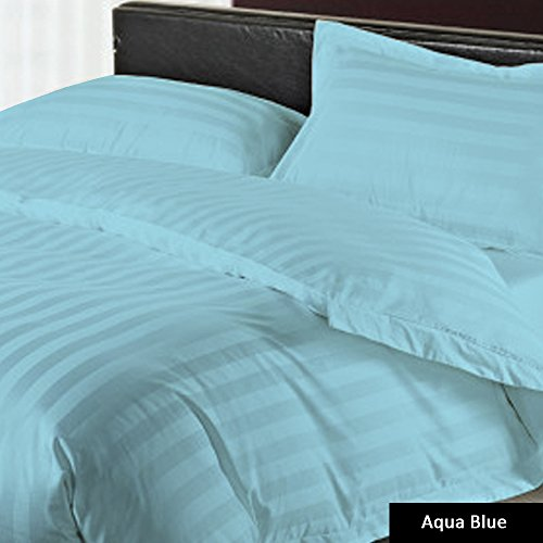 Dreamz Bedding Turquoise Blue// Teal Striped 550TC 100/% Cotton Sheet Set 550-Thread-Count Egyptian Cotton Bed Sheet Set 18 Inch Extra Deep Pocket Queen Sofa Size