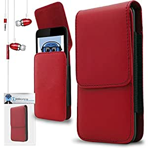 iTALKonline Palm Treo 650 Red PREMIUM PU Leather Vertical Executive Side Pouch Case Cover Holster with Belt Loop Clip and Magnetic Closure Includes Red Premium 3.5mm Aluminium High Quality In Ear Stereo Wired Headset Hands Free Headphones with Built in Mic Microphone and On Off Button