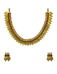 Sthrielite Gracefull Gold Plated Lakshmi Coin Necklace Set
