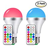 LED Color Changing RGB Light Bulbs E26 10W Memory Function Light Bulbs with 21key Remote Control, RGB  + Daylihgt White, Dimmable, Pack of 2
