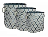 Signature Home 3 Piece Printed Oval Canvas Storage Bins with Rope Handles, Blue Tile