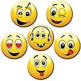 Gute Laune Magnete 6er-Set Ø 5 cm Kühlschrankmagnete mit Motiv: Witzige Smileys für Magnettafel Pinnwand Magnetpinnwand Memoboard Whiteboard - Original Magnete GUMA Magneticum