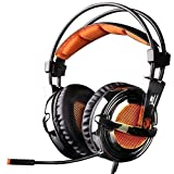 GW SADES SA928 Pro Surround Sound Stereo Wired PC Laptop Gaming Headset Over-Ear Headband Headphones with Microphone volume control for XBOX/PS3/PS4/PC/Mobile(Black&Orange)