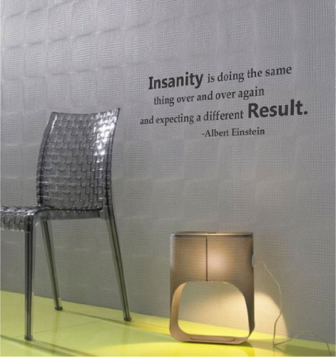 Insanity Is Doing The Same Thing Over And Over Again And Expecting A Different Result. Albert Einstein Vinyl Wall Art Inspirational Quotes And Saying Home Decor Decal Sticker front-1025464