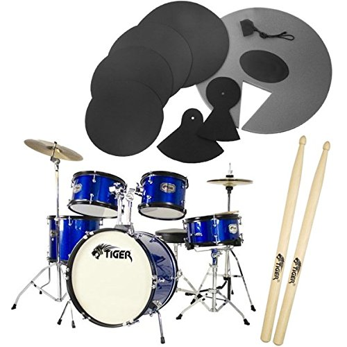 tiger-junior-5-piece-blue-drum-kit-with-silencer-pads-drum-set-pack-with-5-piece-drum-kit-drum-stool