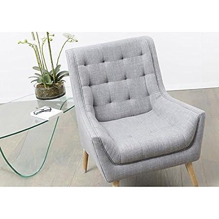 Amadeus - Sillón, diseño escandinavo, 4 pies de madera natural, color gris