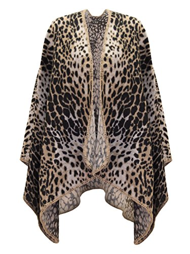 Envy Boutique Women'S Animal Leopard Print Knitted Winter Cape Stylish Poncho Leopard One Size