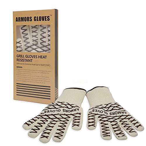 Armors Gloves- Grill Gloves With Extra-Long Cuff -Heat Resistant For Temperatures Up To 662F- Five Finger Flexibility And Seamless Design - Se As Oven Mitt, Pot Holders, Baking, Fireplace & Cooking Gloves-Best Quality Lifetime Guarantee! (Coffee Grid, One