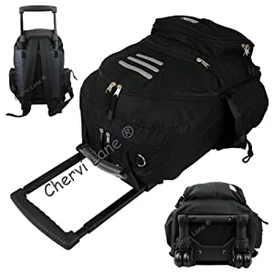 Mens Womens Hand Luggage Wheeled Backpack Rucksack Trolley Holdall Bag Black