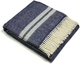Wool Throw Blanket by Tweedmill - Pure New Wool - Lifestyle Fishbone Two Stripe Navy amp Silver Gray
