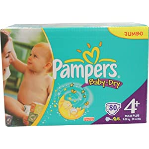 Pampers Windeln Baby Dry Gr.4+ Maxi Plus 9-20kg Jumbo, 80 Stück