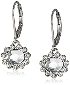 Sam Edelman Crystal and Silver Oval Pave Drop Earrings