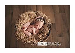 Hypoallergenic & Washable Hay Tan Long Sheep Faux Flokati Fur Newborn Photo Props, Artificial Fur, Newborn Baby Photography Props, Basket Stuffer Blanket, Long Fur