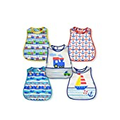 green sprouts Wipe Off Bibs - 5 Pack - Trains and Boats