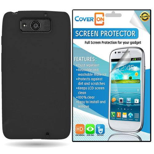 Coveron® Motorola Droid Ultra Silicone Rubber Soft Skin Case Cover Bundle With Clear Anti-Glare Lcd Screen Protector - Black