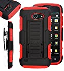 AT&T Tribute / Fusion 3 Case iWIRE® AT&T Tribute / Fusion 3 (HUAWEI Y536A1) GoPhone IROB Red Rugged Impact Armor Hybrid Kickstand Cover with Belt Clip Holster Case + iWIRE® Touch Screen Pen