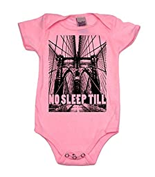 No Sleep Till Brooklyn Girl Baby Bodysuit, 3-6 mo, Pink