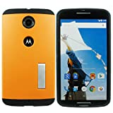 Heartly Hybrid Slim Dual Layer Hard Rugged Armor Bumper Back Case Cover With Stand For Motorola Google Nexus 6 4G LTE - Mobile Orange