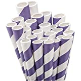 Aardvark Paper Straws Unwrapped Jumbo Straw, 7.75-Inch, Purple and White Striped, 50-Pack