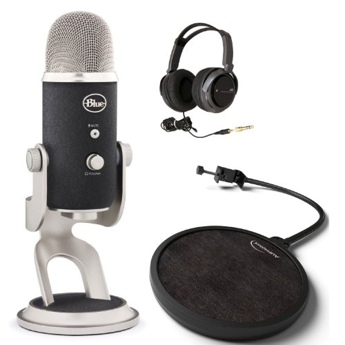 Blue Microphones Yeti Pro Multipattern Condenser Microphone With Studio Headphones And Pop Mic Filter