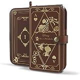 スマホケース 手帳型 全機種対応 ディズニー カード収納 ストラップホール付き / アリス / ブラウン
