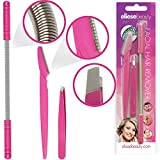 Facial Hair Removal & Eyebrow Trimming Set Includes: Threading Epilator Spring Tool, Beauty Tweezers, Eyebrow Shaper Grooming Razor, Remove Unsightly Facial Hair With Ease.