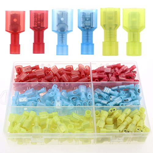 Glarks 180pcs 22-16 16-14 12-10 Gauge Nylon Fully Insulated Male / Female Spade Quick Splice Wire Disconnect Electrical Insulated Crimp Terminals Connectors Assortment Kit (Electrical Connector Male compare prices)