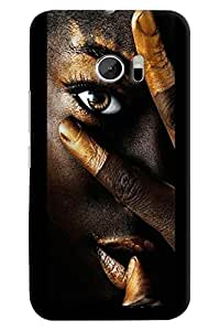 Omnam Girl In Black Face With Golden Effect Printed Designer Back Cover Case For HTC 10