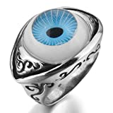 Justeel Men 316L Stainless Steel Ring Silver Blue Skull Eye Rock Size P(with Gift Bag) (Width: 0.71