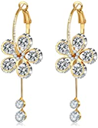 Jewels Galaxy Luxuria Crystal Delicate Design Rose Gold Plated Drop Earrings