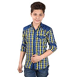 Anry Little Casual Denim Yellow Checkered Shirts for Boys (6-14 Years)