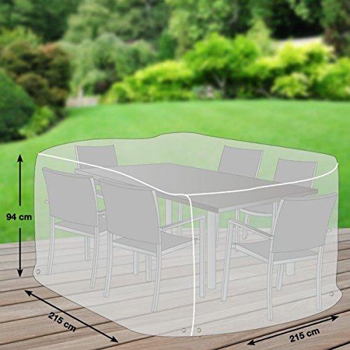 Premium Schutzhülle / Abdeckhaube für Gartenmöbel / Sitzgruppe quadratisch Größe L / 215 x 215 cm / aus Oxford 600D Gewebe / Farbe Lichtgrau