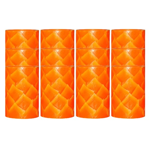 Dfl 4X6 Inch Lotus Grain Flameless Real Wax Led Candle With Timer-Orange,Set Of 12