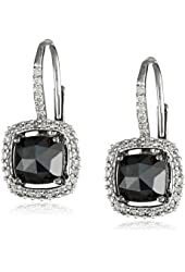 14K White Gold Black and White Diamond Leverback Earrings (2.0 Cttw, G-H Color, I1-I2 Clarity)