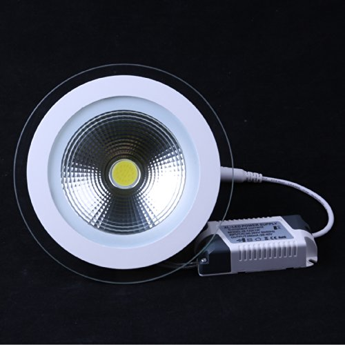 Lemonbest Led Panel Light 10W Round Glass Recessed Ceiling Lamp Cool White