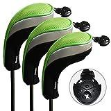 Andux ゴルフ ハイブリッド クラブヘッドカバー 交換可能な番号タグ付き 3個セット (ブラック/グリーン)