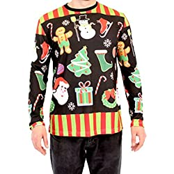 Holiday Symbols All Over Black Long Sleeve Ugly Christmas T-Shirt (Small)