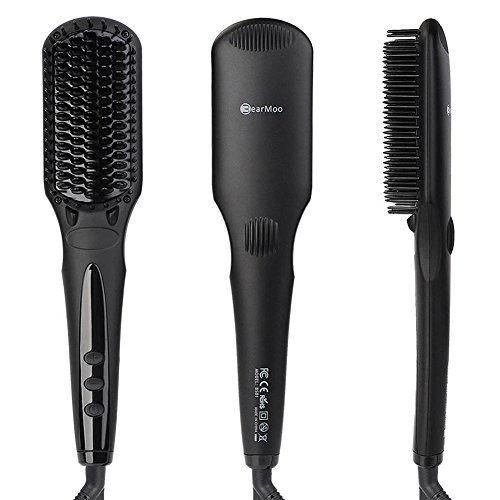 BearMoo Hair Straightening Brush Best Straightener Brush Ceramic Faster Heating MCH Technology, Double Anion, Anti-Scald Comb Teeth- Gift Packaging (Best Brushes For Thick Hair compare prices)
