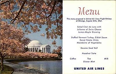 Jefferson Memorial - United Airlines Menu Washington, District Of Columbia Original Vintage Postcard
