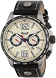 Ingersoll Men's Automatic Watch with Beige Dial Analogue Display and Black Leather Strap IN1816CH