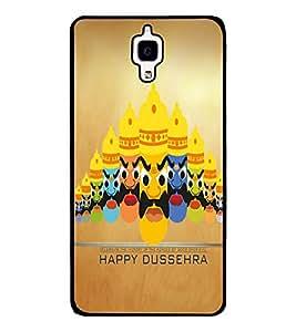 Fuson Premium Happy Dussehra Metal Printed with Hard Plastic Back Case Cover for Xiaomi Mi 4