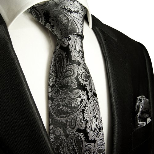 Necktie Set 2pcs. black silver gray wedding Paul Malone 100% Silk Mens Tie + Handkerchief