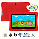 Contixo 7 Inch Quad Core Android 4.4 Kids Tablet, HD Display 1024x600, 1GB RAM, 8GB Storage, Dual Cameras, Bluetooth, Wi-Fi, Kids Place App & Google Play Store Pre-installed, 2015 July Edition, Kid-Proof Case (Red)
