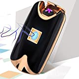 iMeshbean® Black Fingerprint Touch Rechargeable Dual Arc Flameless Plasma Electric Lighter