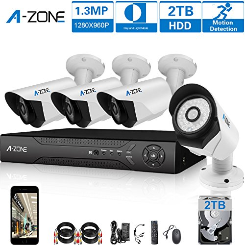 A-ZONE 4ch AHD 1080P DVR Security Camera System