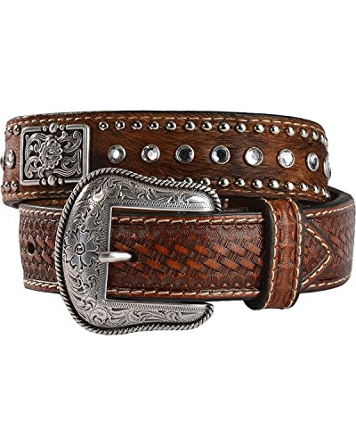 Nocona Boys' Rhinestone Hair-On-Hide Leather Belt Brown 28 (Western Belt Boys compare prices)