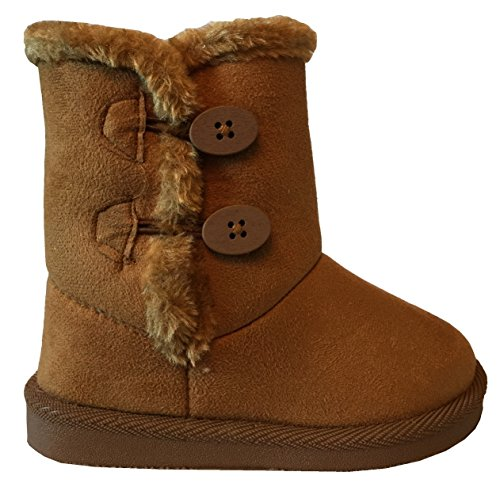 NEW Babys Girls Infant Kids Toddler Flat Winter Fur Boots Pom Pom Shoes Sz 2-8 (9 Toddler, CamelCutie A)